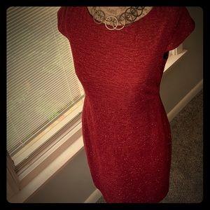 Alyx Red Sparkly Cocktail MIDI Dress Size 4.